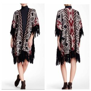 Dreamers Boho Tribal Fringe Sweater Cardigan SZ M